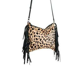 ad5eb733b958 Fringe Crossbody Bag   Clutch in Animal Cheetah Leopard Print in Genuine  Calf Hair Leather - Handbag Cross Body Bag Purse