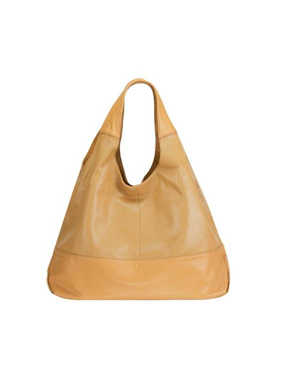 702945c2c469 Light Camel Brown Perforated Genuine Leather Designer Shoulder