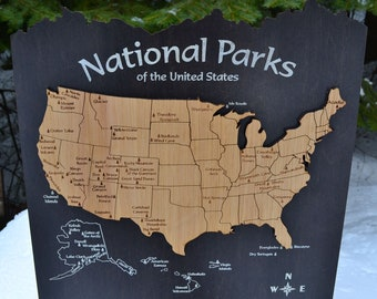 Us national park map | Etsy