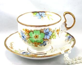 Vintage Melba Bone China Verde Floral 4576. platillo de taza de té y placa lateral Trío