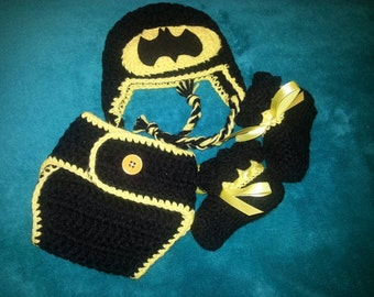 9df5f1241 Newborn crocheted batman outfit, hat booties and diaper cover, photo prop
