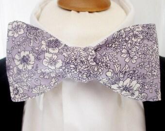 """Men's bowtie  in Liberty Print  in """"Meadow """" - light purple / mauve / lilac  floral bowtie / papillion /hankerchief"""