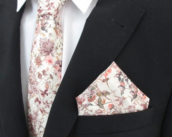 "Liberty of London fabric   handmade necktie in  ""Wild Flowers "" Pink and blush colourway ~ wedding  tie / necktie /  tie / cravat /corbata"