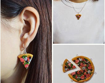 Miniature pizza 925 silver earrings and necklace, food jewelry, polymer clay charm, very lovely and cute gift for her. Pizza jewelry.