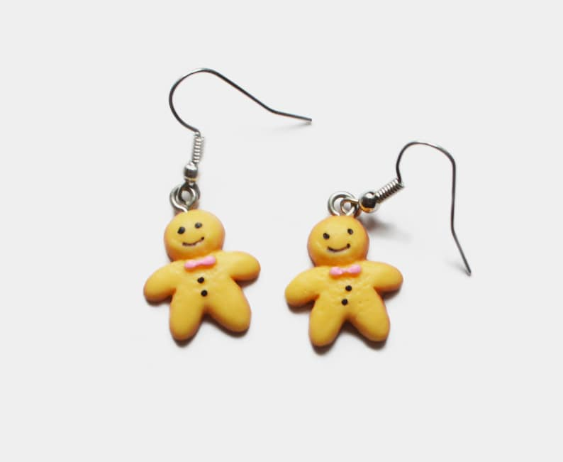 1d3a0bff065f8 Mini Gingerbread man earrings, kawaii food miniature, silver plated earrings