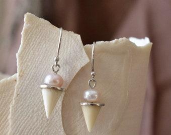 Cow bone and pink pearl drop earrings
