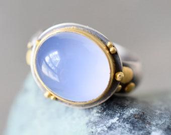Cornflower Blue Chalcedony Ring