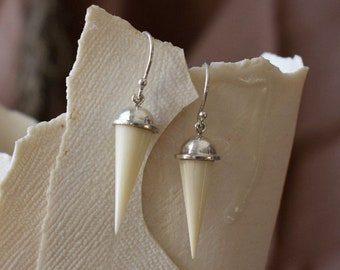 Bone and silver drop earrings
