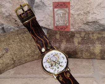 """Watch """"deer"""" real leather strap"""
