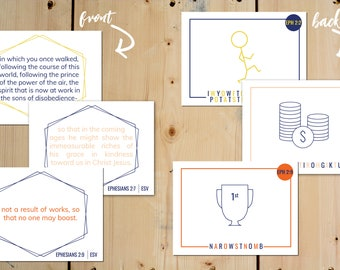 Ephesians 2:1-10 Printable Cards for Kids /  Instant Digital Download / Bible Memory Cards for Kids / Printable Bible Verses