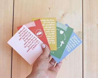1 John 4:7-11 Memory Cards, Kids Bible Memory, Scripture Cards, Notecards, Christian Gift, Bible Verse Cards, Kids Discipleship