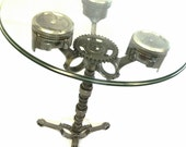 Piston End Table Pub Table Engine Table Metal End Table Round Glass Table Industrial Whimsical Steampunk Car Part Furniture Frost Auto Decor