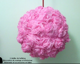 White crepe paper flower ball decorations pink hanging crepe paper flower ball mightylinksfo