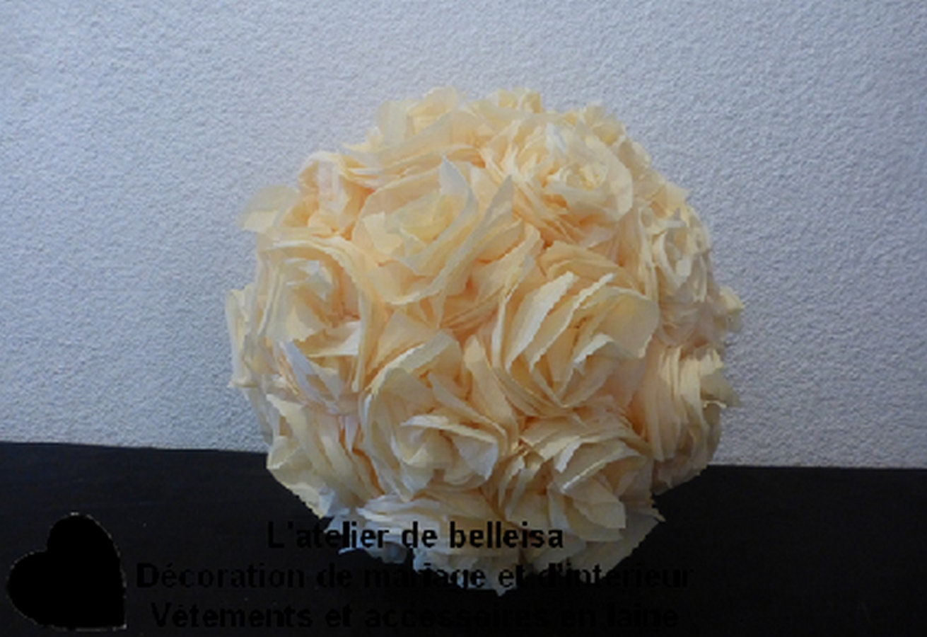 Ball Decorations Cream Crepe Paper Flower Etsy