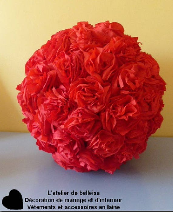Ball Ornaments In Red Crepe Paper Flower Etsy