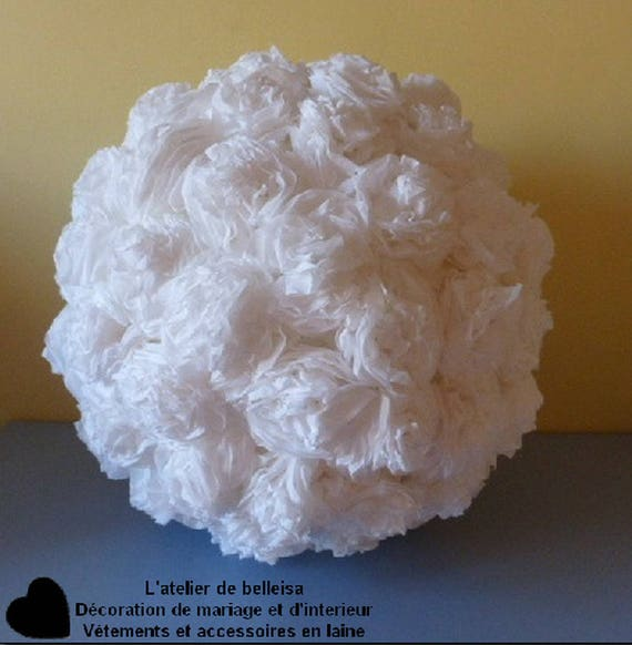 White crepe paper flower ball decorations etsy image 0 mightylinksfo