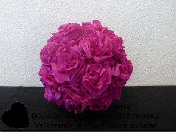 Crepe Paper Flower Ball Raspberry Decorations Etsy Gorgeous Paper Flower Ball Decorations