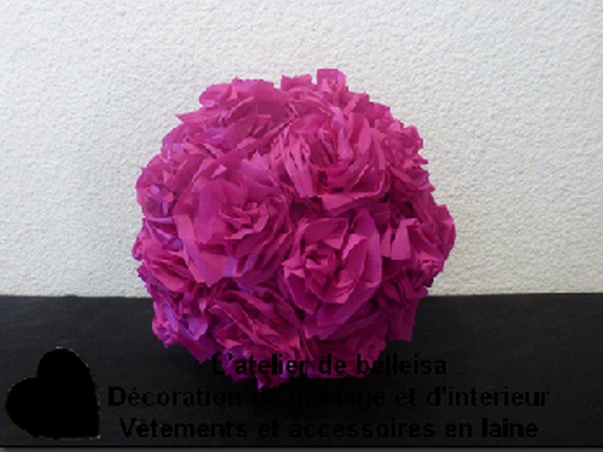 Crepe Paper Flower Ball Raspberry Decorations Etsy