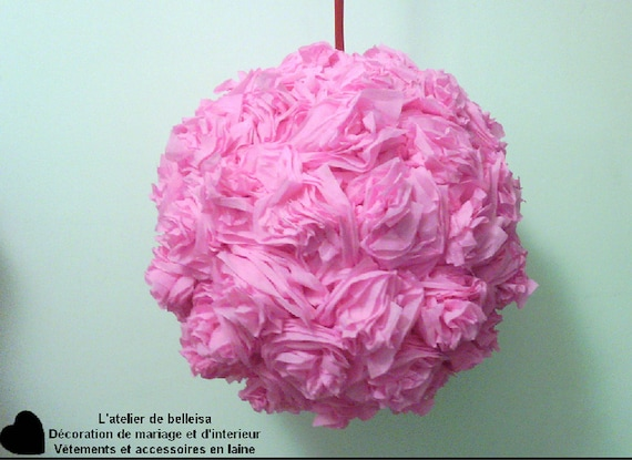 Pink Hanging Crepe Paper Flower Ball Etsy