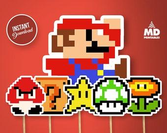 Mario Bros Printable Center Piece Set, Package, Birthday Party Theme, Clipart