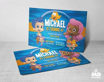 Bubble Guppies Invitation Card, Printable, Birthday Party Theme Digital Favors Package, Candy Bar Decoration Supplies,  Personalized