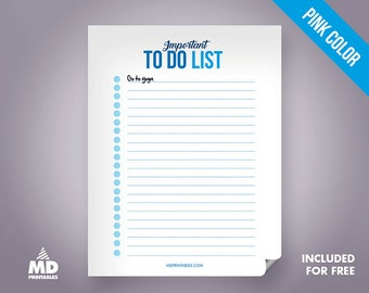 To Do List, Printable PDF Template, Planner, Organize, Digital Download, DIY, Life Style, House Hold, Instant Download