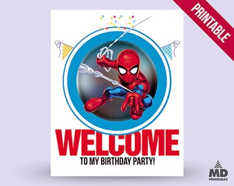 Spider Man Sign, Printable, Candy Bar, Birthday Party Theme, Poster, Welcome To My Party, Decor, Theme, Spider Man, Instant Download