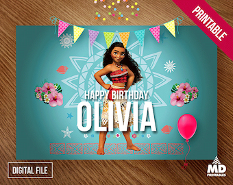 Moana Printable Backdrop, Package, Favors, Download, Digital, Birthday Party Theme