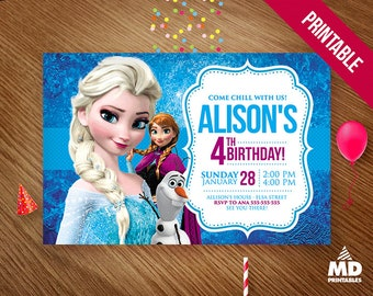 FROZEN Invitation Card, Printable, Birthday Party Theme Digital Favors Package, Candy Bar Decoration Supplies, Invitations, Personalized
