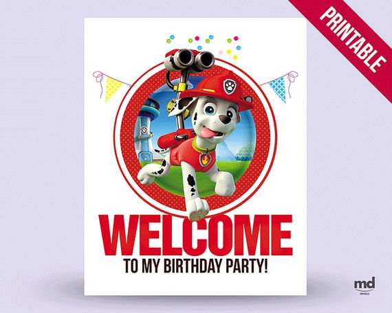 Marshall Sign Paw Patrol Candy Bar Birthday Party Theme