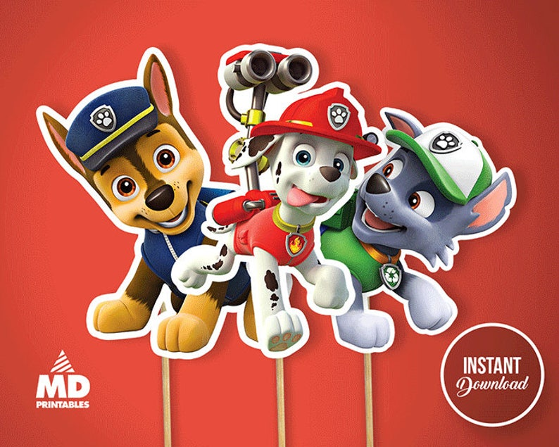 Paw Patrol Party Printable Center Piece Birthday Party Theme Paw Patrol Favors Diy Package Candy Bar Clipart Decoration Instant Download