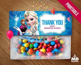 Frozen Favor Bag, Frozen Topper Bag, Birthday Party Theme, Printables, Decoration, Favors, Package, Candy Bar, Elsa, Personalized Favors