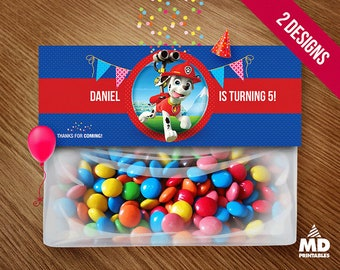 Marshall Topper Bag, Marshall Favor Bag, Birthday Party Theme Printables, Decoration, Favors, Package, Personalized Paw Patrol Candy Bar