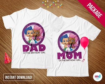 Bubble Guppies T-Shirts Mom & Dad, Guppies Birthday Party Theme Decoration, Printable Iron On Transfer T-Shirt, Favors,  INSTANT DOWNLOAD