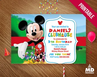 Mickey Clubhouse Invitation Card, Printable, Birthday Party Theme Digital Favors Package, Candy Bar Decoration Supplies, Personalized
