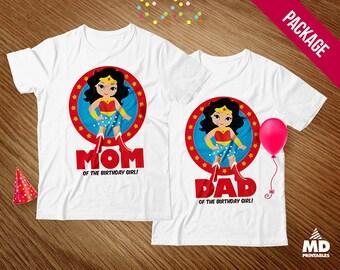 Wonder Woman Iron On T Shirt Transfer, Wonder Woman Mom & Dad Transfer, Wonder Woman Iron On, Design 2, Instant Download