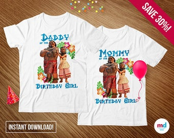 MOANA T-Shirts Mom & Dad, Moana Birthday Party Theme Decoration, Printable Iron On Transfer T-Shirt, Favors, Candy Bar, Instant Download