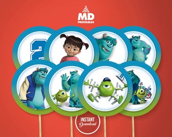 MONSTER INC Cupcake Toppers, Printable, Candy Bar, Birthday Party Theme, Stickers, Decoration, Circles, Favors, Tags, Personalized