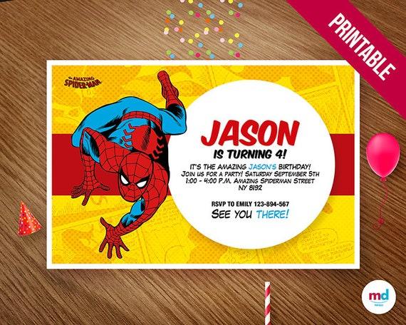 Spiderman Einladungen Einladung zum Ausdrucken Spiderman | Etsy