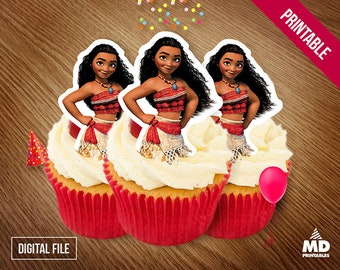 MOANA Printable Cupcake Toppers, Candy Bar Birthday Party Theme Decoration, Avengers, Center Piece, Clipart, Package, Instant Download