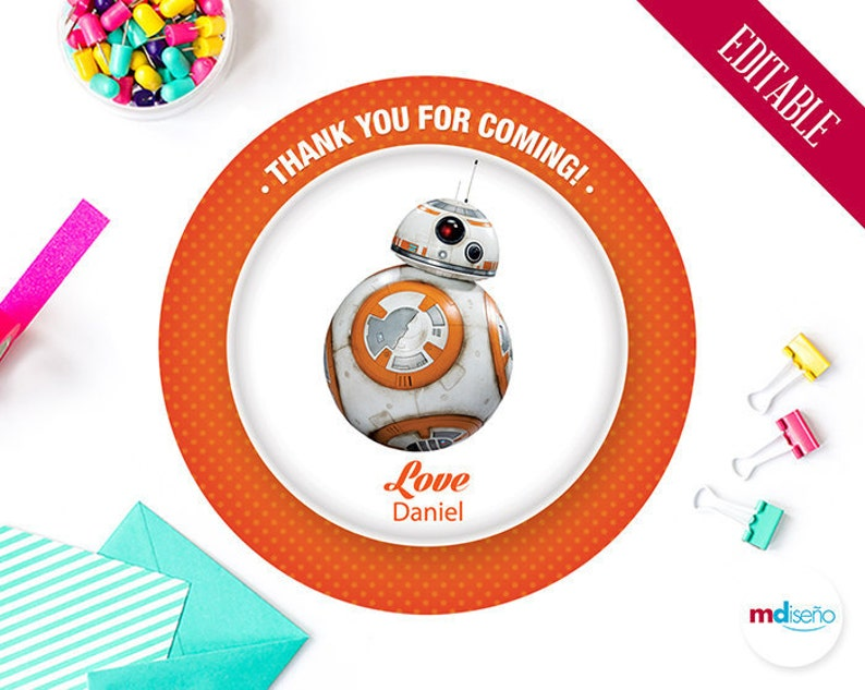 photograph regarding Bb 8 Printable known as Star Wars BB8 Printable Like Tag, Star Wars BB8 Thank Oneself Card, Star Wars Birthday Occasion Topic Printables, Editable, Immediate Obtain