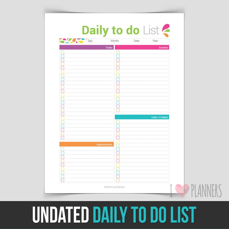 Instant Download PDF format ready to print at home! Undated Daily To Do List