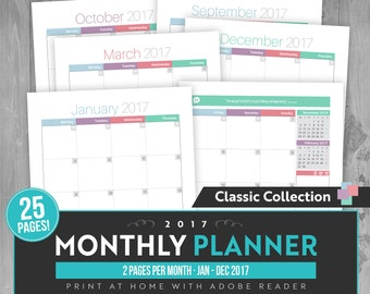 2017 Two Page Monthly Planner (Mon-Sun) - Instant Download! 25 pages in PDF format ready to print at home!
