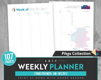 2017 Two Page Dated Weekly Planner - Instant Download! 107 pages in PDF format ready to print at home!