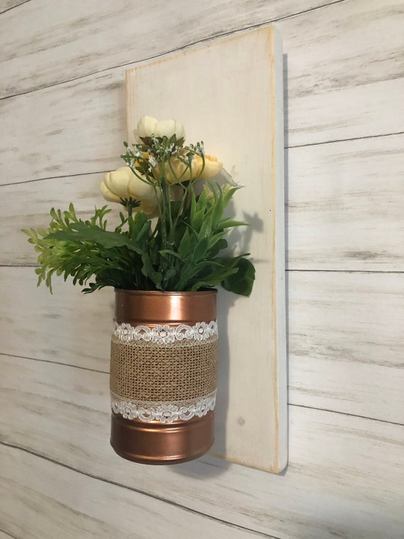 Floral Arrangement Wall Vase Copper Wall Vase 1 Available Rustic Glam Decor