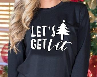 1Tee Mens Let/'s Get Lit Christmas Tree Lights T-Shirt