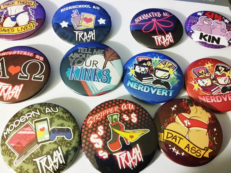 Trash Pride Buttons 2 5 tin buttons (set of 4)
