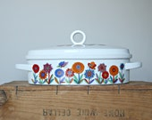 Groovy Casserole Dish, Lidded Casserole Dish, Retro Floral Casserole with Lid