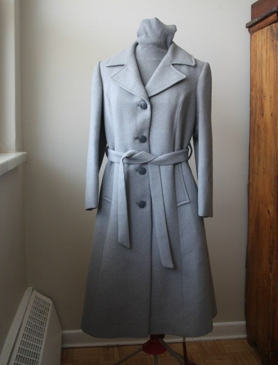 Vintage Women's  Grey Wool Belted Long Dress Coat,