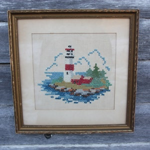 Vintage Handmade Lighthouse Framed Needlepoint Small Wall Decor
